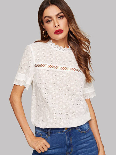 Eyelet Embroidered Lace Insert Mock Neck Top