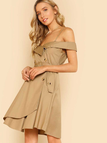 Button Detail Cold Shoulder Wrap Belted Utility Dress