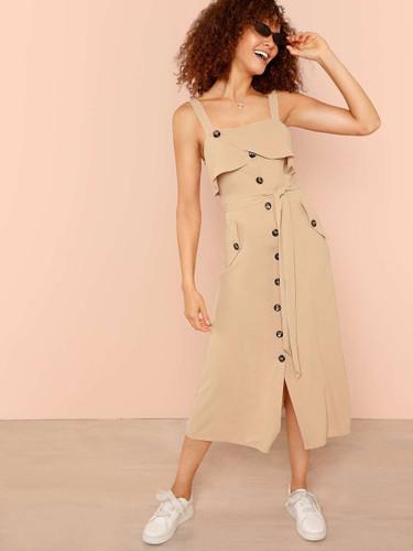 Foldover Front Self Belted Slit Hem Dress (v. Khaki)