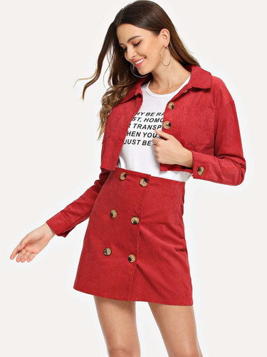 Single-breasted Corduroy Crop Utility Coat With Skirt