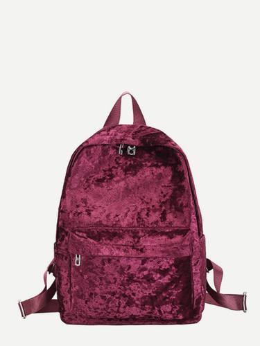 Pocket Front Velvet Backpack