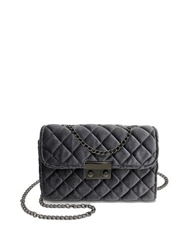 Quilted Velvet Chain Bag - Grey