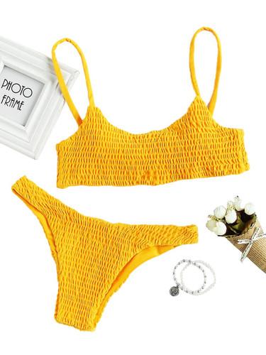Spaghetti Strap Top With Smocked Bikini