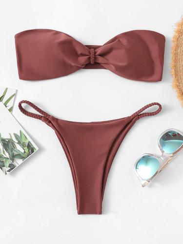 Braided Detail Bandeau With Tanga Bikini Set