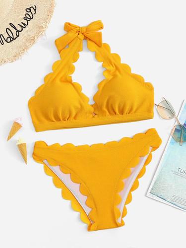 Scalloped Trim Halter Top With Textured Panty Bikini