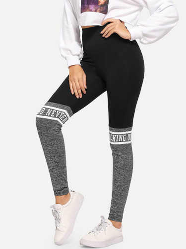 Cut And Sew Letter Print Leggings