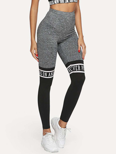 Cut And Sew Letter Print Leggings - Multicolor