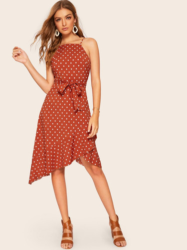 Tulip Hem Polka Dot Belted Cami Dress