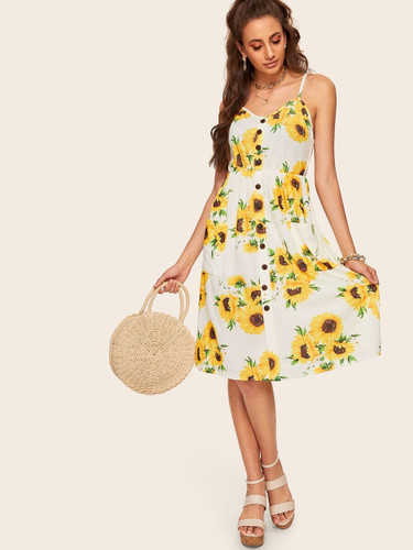 Button Front Fit & Flare Sunflower Cami Dress