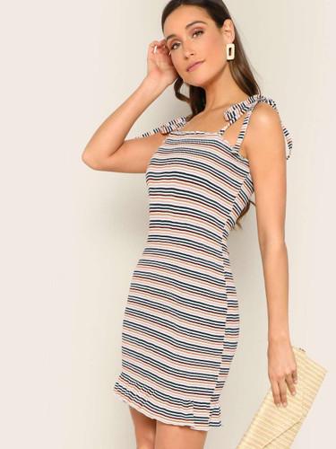Shoulder Knot Ribbed Knit Striped Dress