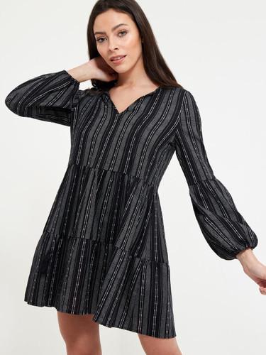 V-neck Lantern Sleeve Tiered Striped Dress