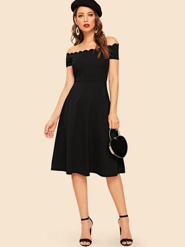 Scallop Trim Off Shoulder Fit & Flare Dress