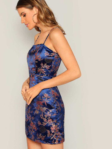Silky Floral Jacquard Cami Dress