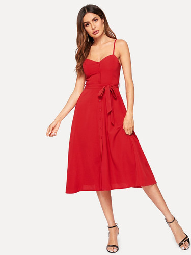 Button Front Solid Belted Slip Dress