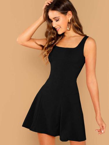 Solid Skater Tank Dress - Black