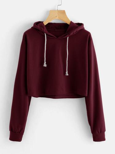 Drawstring Hooded Crop Sweatshirt