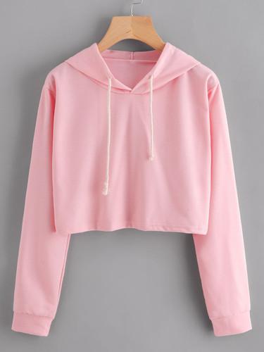 Crop Hooded Sweatshirt - Pink