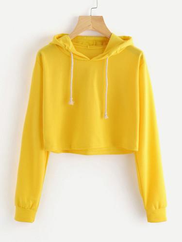 Drawstring Hooded Crop Sweatshirt - Yellow