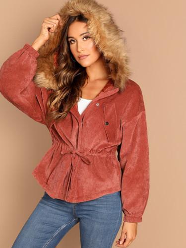Asymmetrical Hem Faux Fur Hooded Corduroy Parka Coat