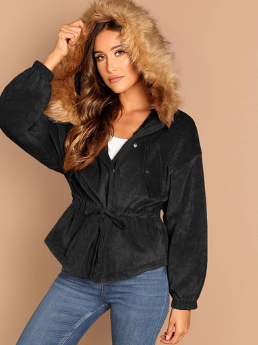 Drawstring Waist High Low Coat With Faux Fur Hoodie