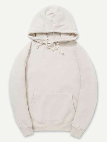 Men Plain Hooded Sweatshirt - Khaki
