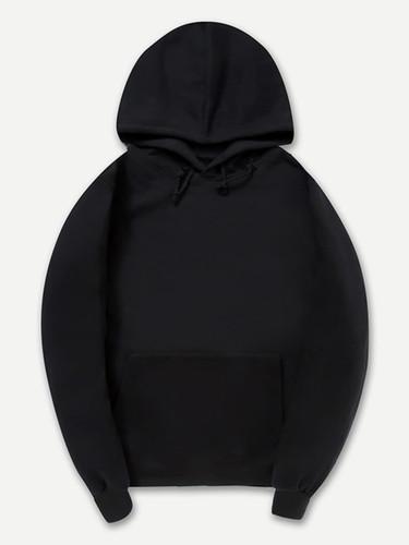 Men Plain Hooded Sweatshirt - Black