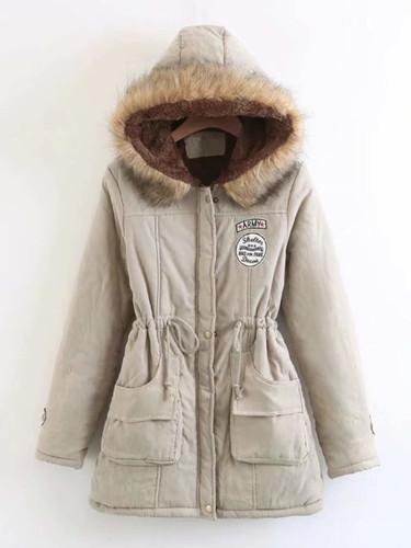 Faux Fur Drawstring Waist Parka Coat