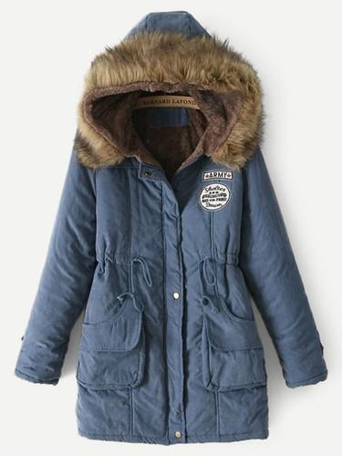 Faux Fur Drawstring Waist Parka Coat - Blue