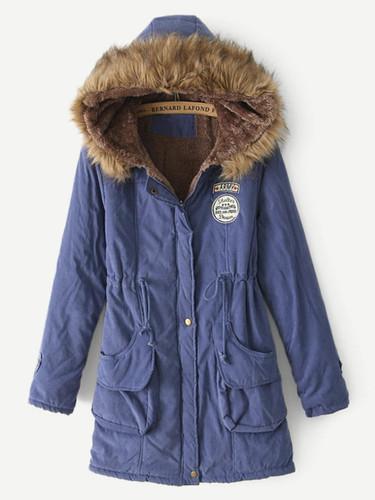 Faux Fur Drawstring Waist Parka Coat - 61cdc390