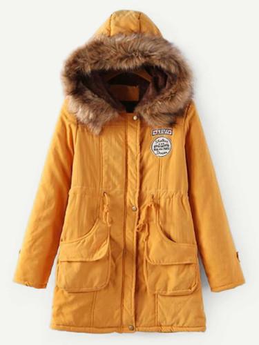 Faux Fur Drawstring Waist Parka Coat - Ginger