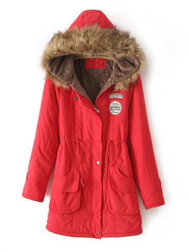 Faux Fur Lined Parka Coat - Red
