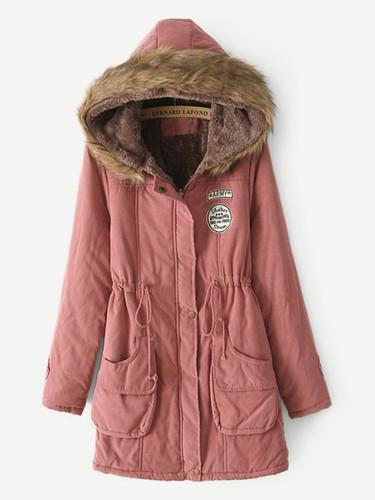 Faux Fur Hooded Parka Coat - Pink