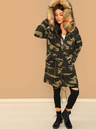 Camo Print Parka Coat With Faux Fur Trim Hood