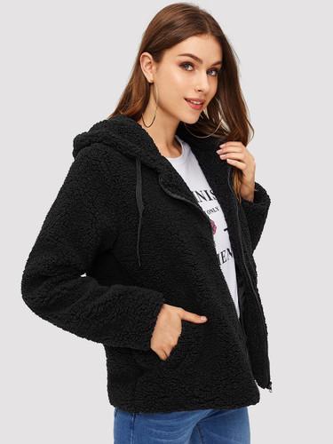 Zip Up Drawstring Hooded Teddy Coat