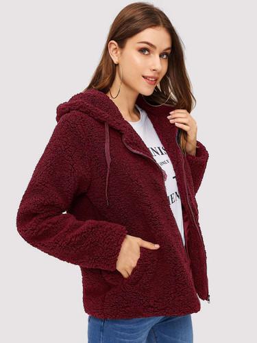 Zip Up Hooded Drawstring Teddy Coat