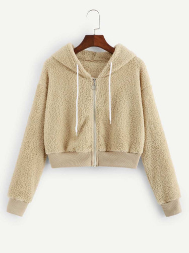 Solid Shearling Hooded Teddy Jacket (v. Khaki)
