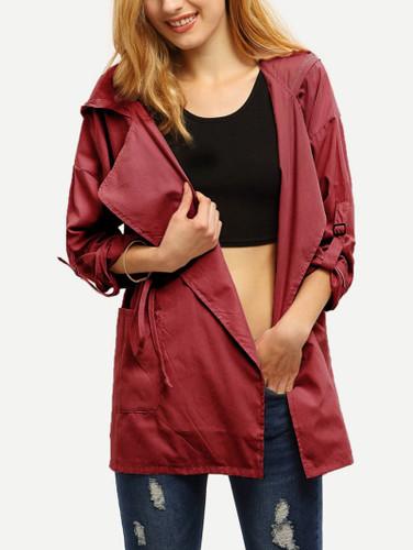 Roll Tap Sleeve Drawstring Hooded Coat