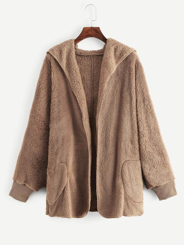 Hooded Pocket Side Teddy Outerwear