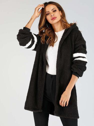 Varsity Sleeve Hooded Teddy Coat (v. Black)