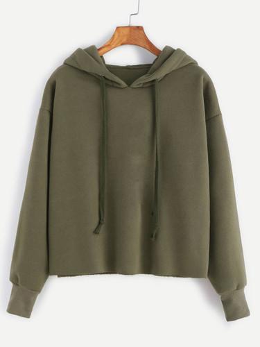 Hooded Drawstring Raw Hem Sweatshirt