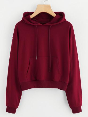 Hooded Drawstring Kangaroo Pocket Sweatshirt (v. Burgundy)