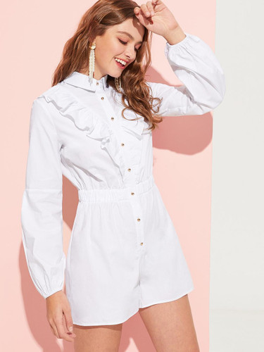 Ruffle Embellished Buttoned Solid Romper