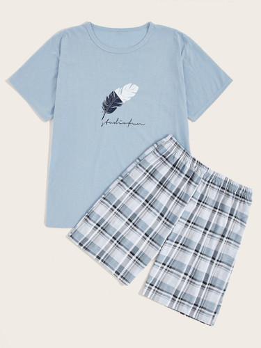 Men Feather Print Plaid Pajama Set