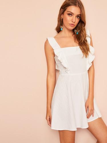 Ruffle Strap Fit & Flare Pinafore Dress
