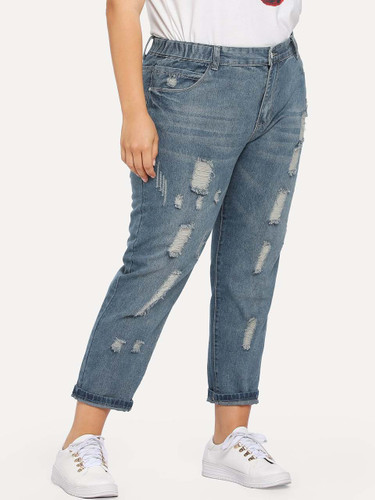Plus Bleach Wash Ripped Jeans