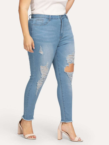 Plus Ripped Detail Bleach Wash Skinny Jeans