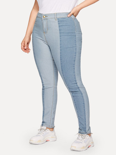 Plus Contrast Panel Skinny Jeans - Blue