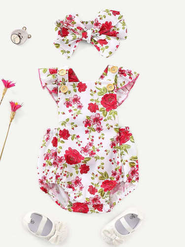 Baby Floral Print Ruffle Straps Jumpsuit With Headband - 50158ac1