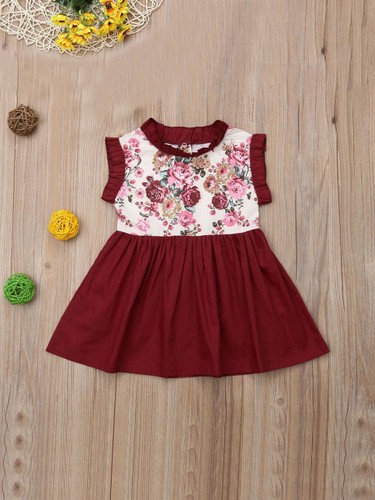 Baby Frill Trim Floral Print Dress