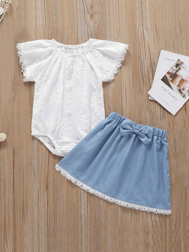 Baby Crochet Applique Romper With Skirt